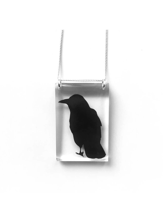 Black Drop Tall Crow Necklace
