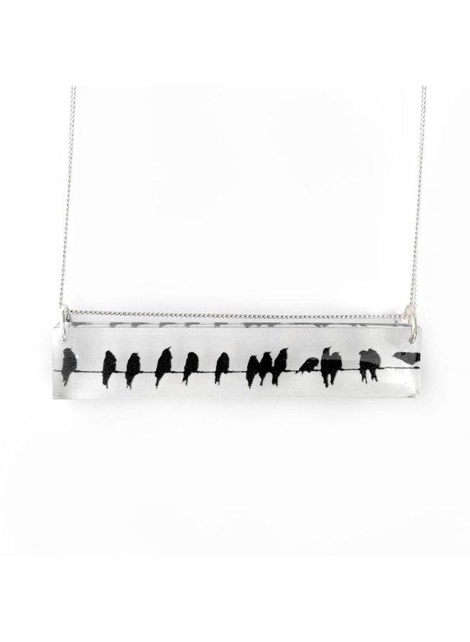 Black Drop Crows Necklace