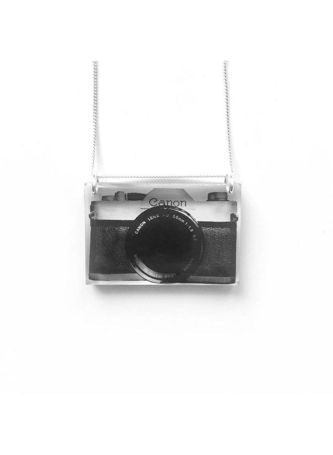 Black Drop Side Camera Necklace