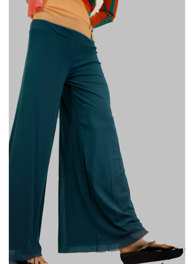 Petit Pois Lined Palazzo Pant In Blue Stone