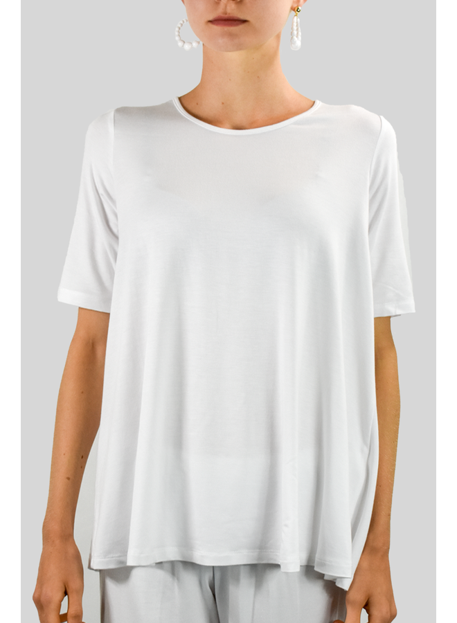 Comfy Elbow Sleeve Tunic In White