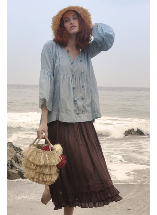 J.P. & Mattie's Ruffled Sleeve Tunic In Blue Mist