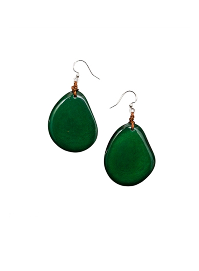 Tagua Amigas Earrings In Forrest Green