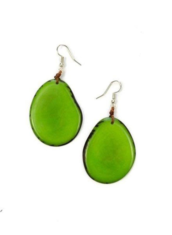 Tagua Amigas Earrings In Lime