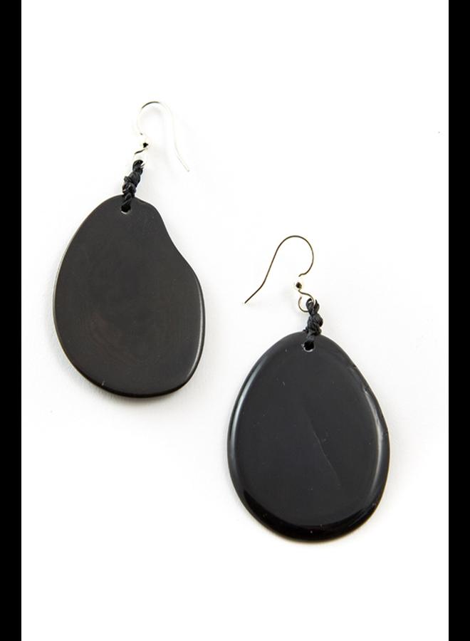 Tagua Amigas Earrings In Onyx