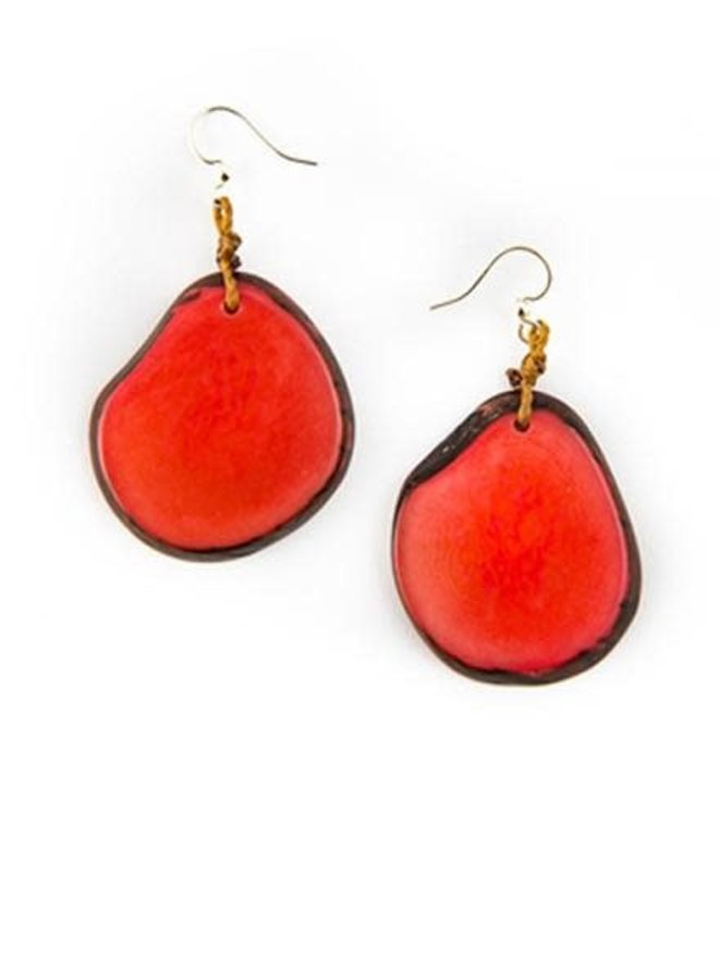 Tagua Amigas Earrings In Poppy Coral