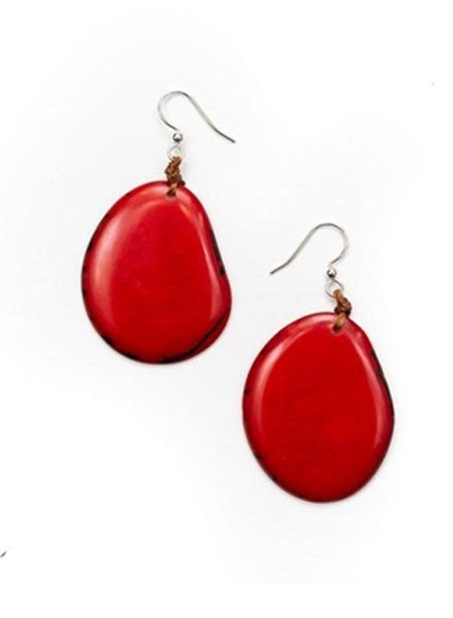 Tagua Amigas Earrings In Rojo