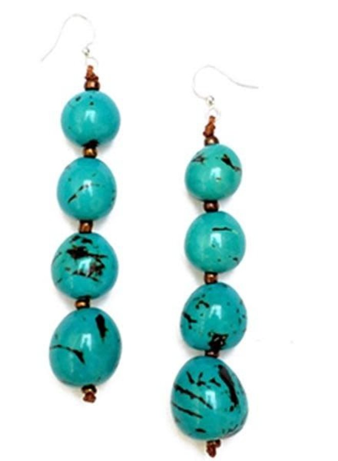 Tagua Bonbom Earrings In Turquoise