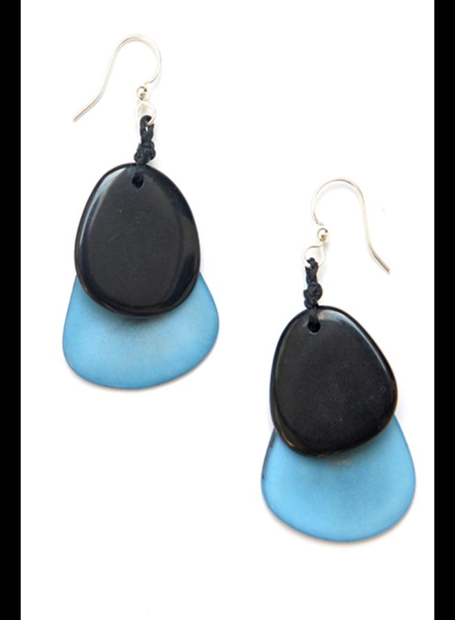 Tagua Fiesta Earrings In Blue & Black