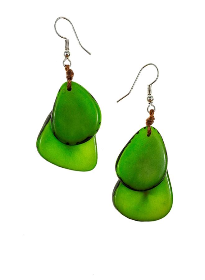 Tagua Fiesta Earrings In Lime