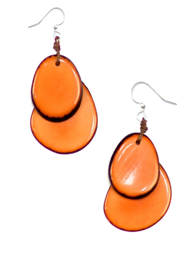 Tagua Fiesta Earrings In Orange