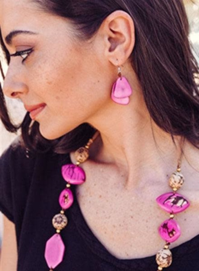 Tagua Fiesta Earrings In Violet Purple