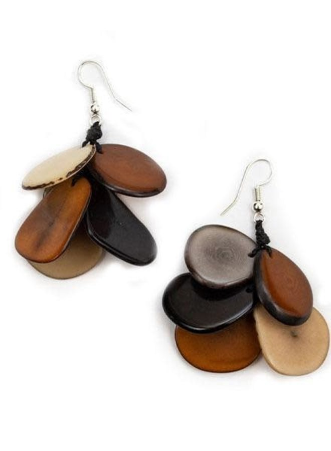 Tagua Mariposa Earrings In Black Combo