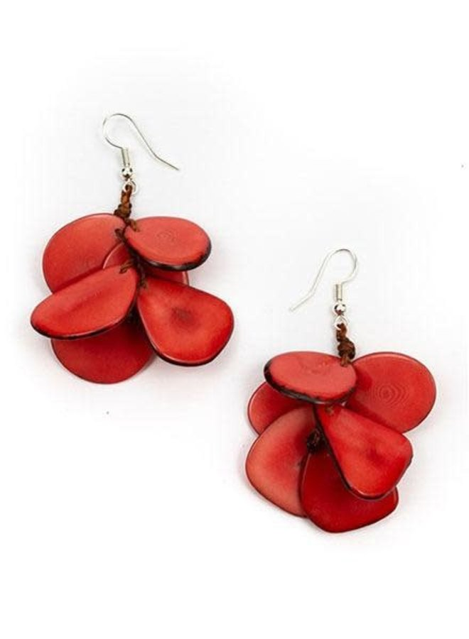 Tagua Mariposa Earrings In Poppy Coral