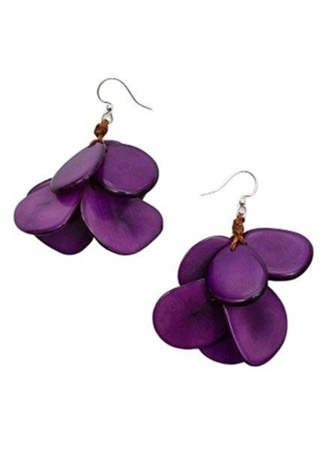 Tagua Mariposa Earrings In Purple