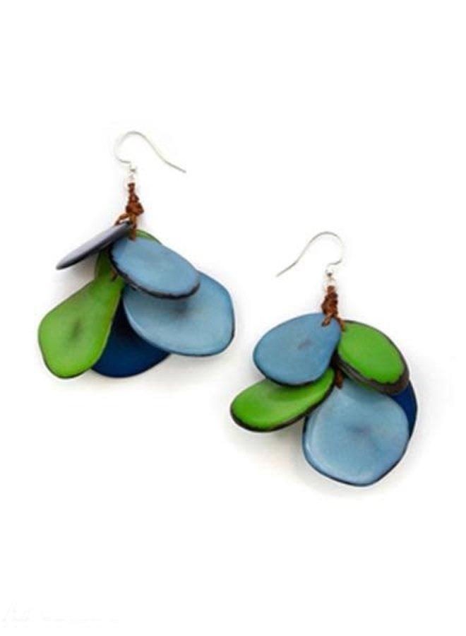 Tagua Mariposa Earrings In Royal Combo