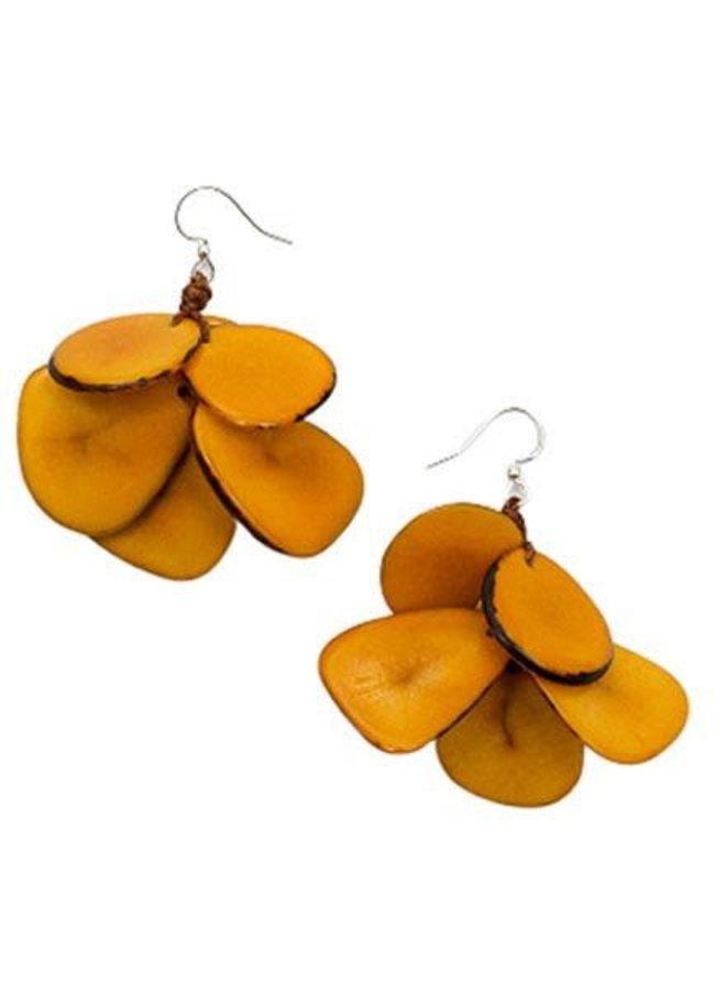 Tagua Mariposa Earrings In Yellow