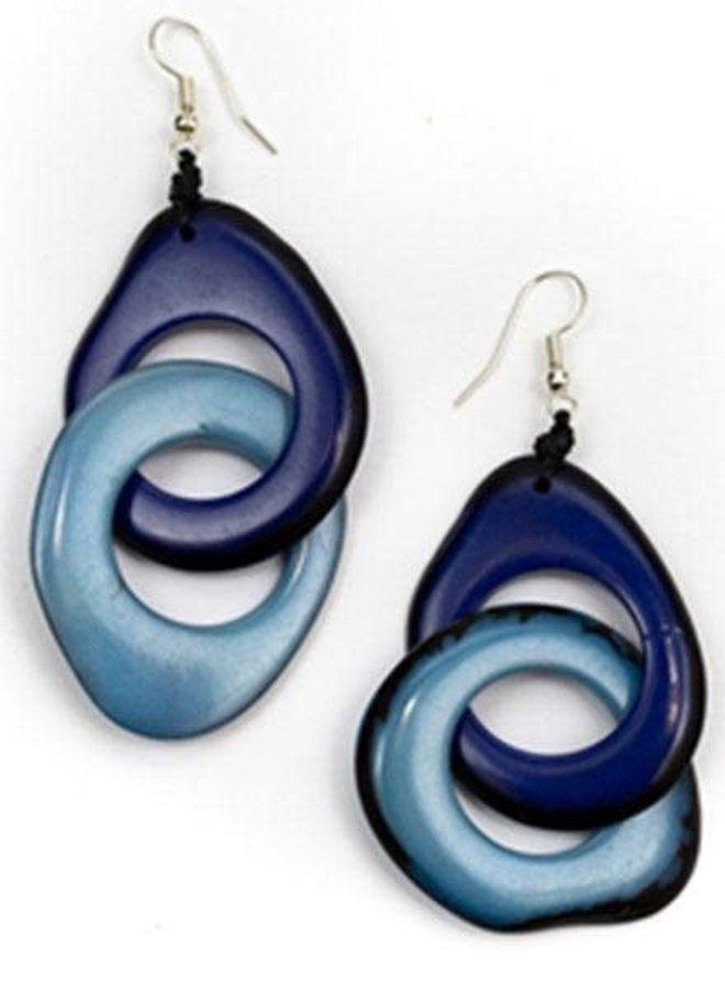 Tagua Miche Earrings In Royal Blu & Biscayne