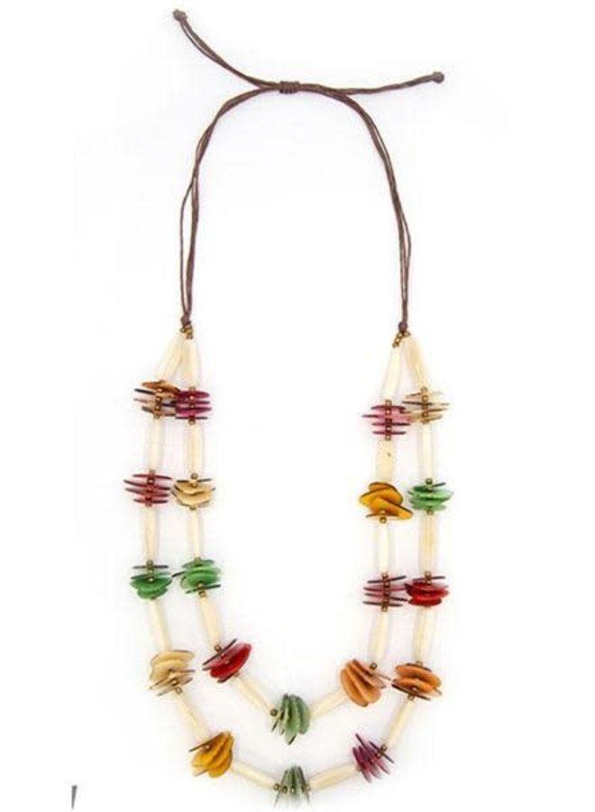 Tagua Delaini Necklace In Multi