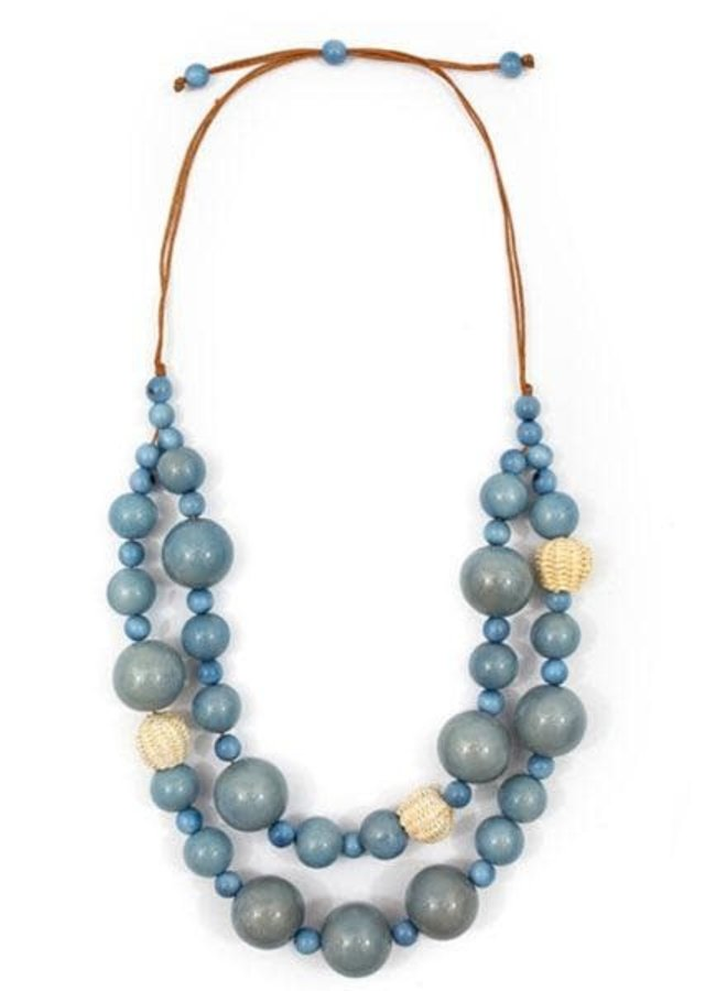 Tagua Lucy Necklace In Biscayne Bay Lake Blue