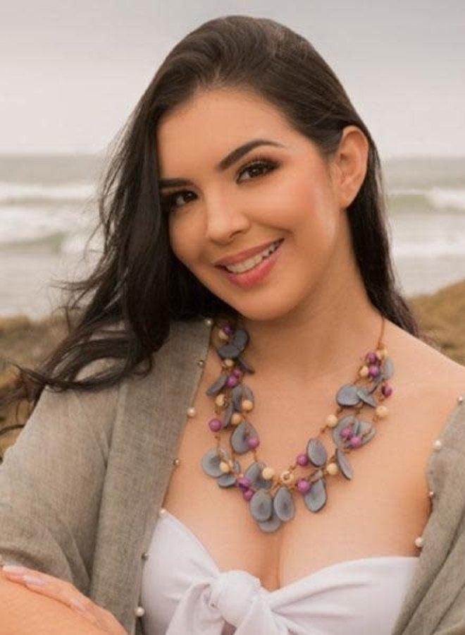 Tagua Marcela Necklace In Violet & Biscayne Bay