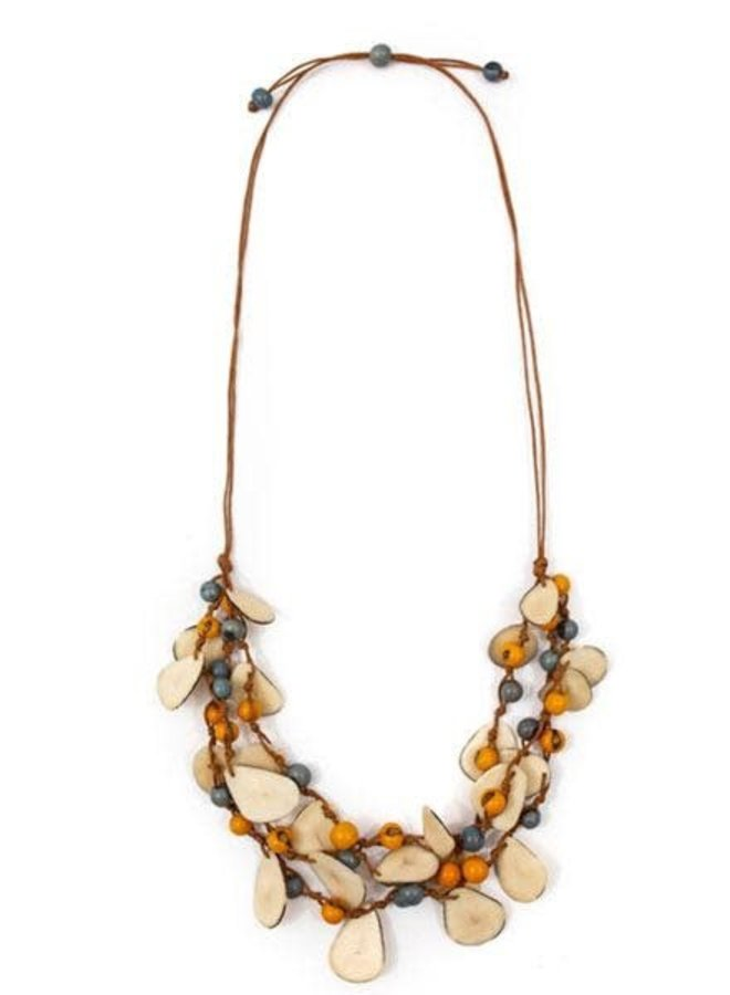 Tagua Marcela Necklace In Yellow Biscayne Lake Blue