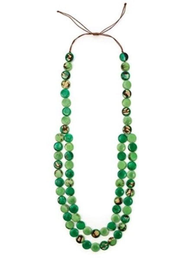 Tagua Mundo Necklace In Green Combo