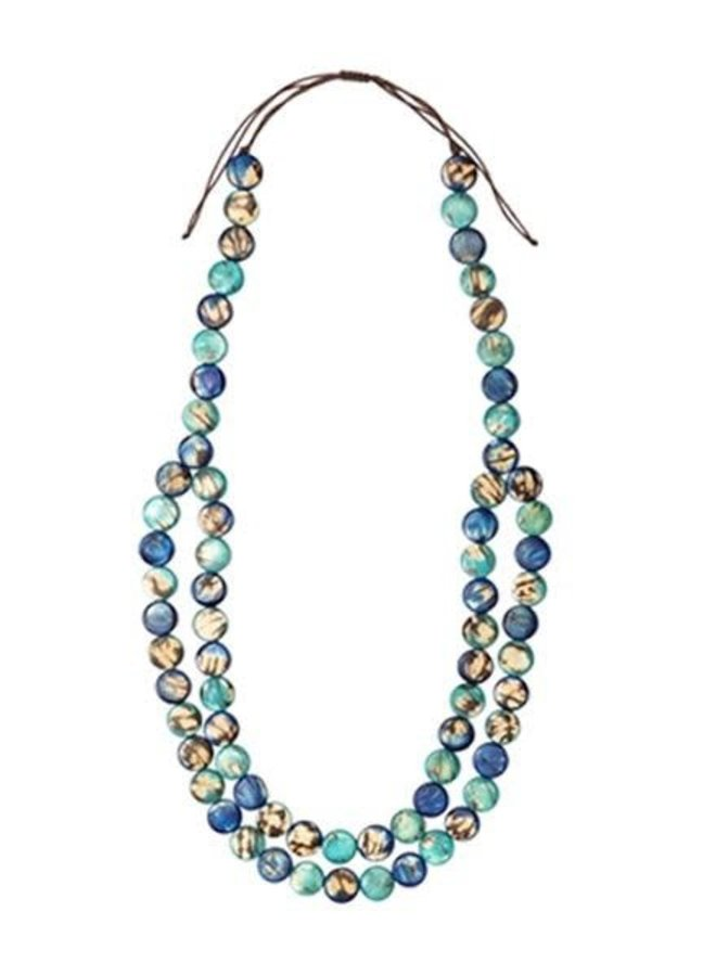 Tagua Mundo Necklace In Royal Blue & Turquoise