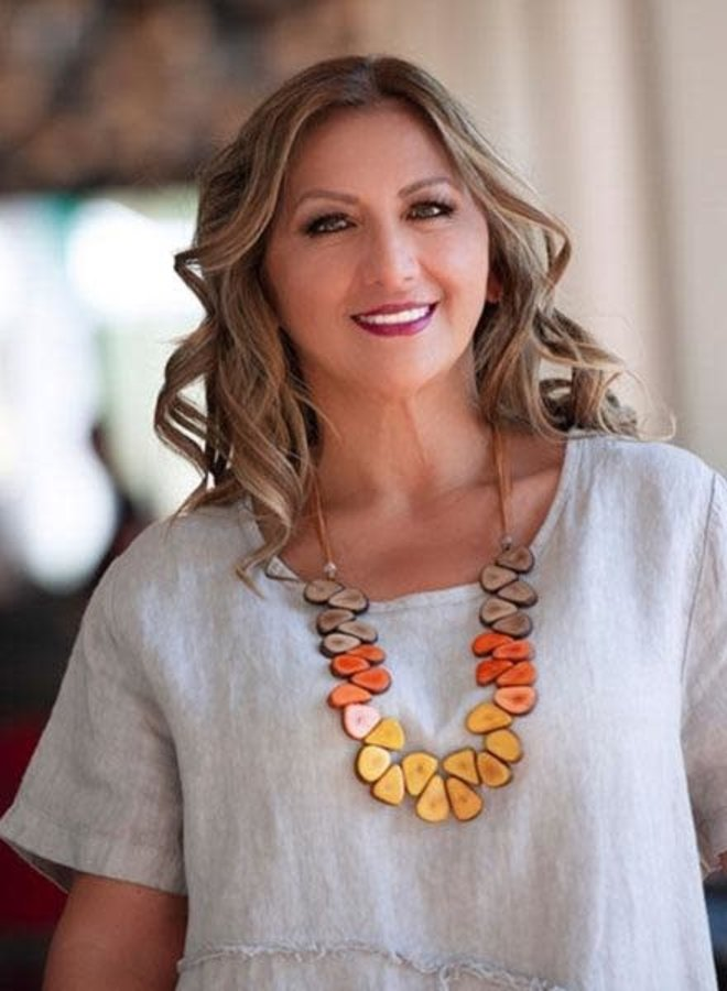 Tagua Samantha Necklace In Chestnut & Cafe
