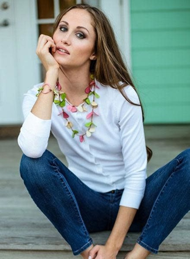 Tagua Slice Necklace In Biscayne Bay