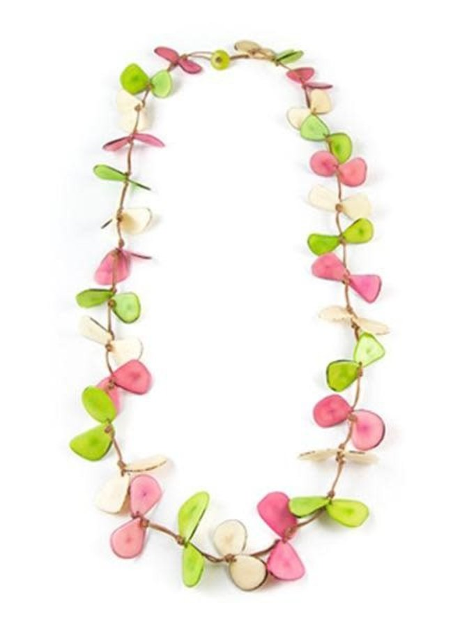 Tagua Slice Necklace In Lime, Ivory & Pink