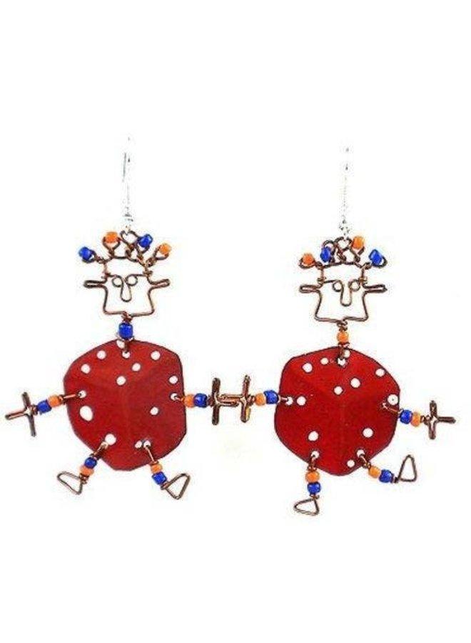 Dancing Girl Lucky Dice Earrings