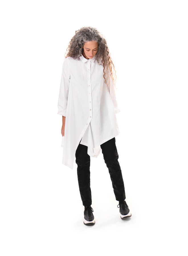 Alembika Drop Hem White Shirt