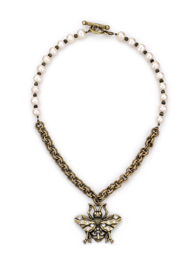 French Kande Bee & Freshwater Pearl Necklace