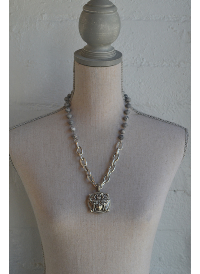 French Kande Jasper Bee Necklace