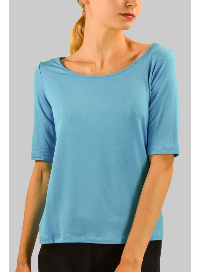 Comfy's Elbow Sleeve Tee In Topaz Blue