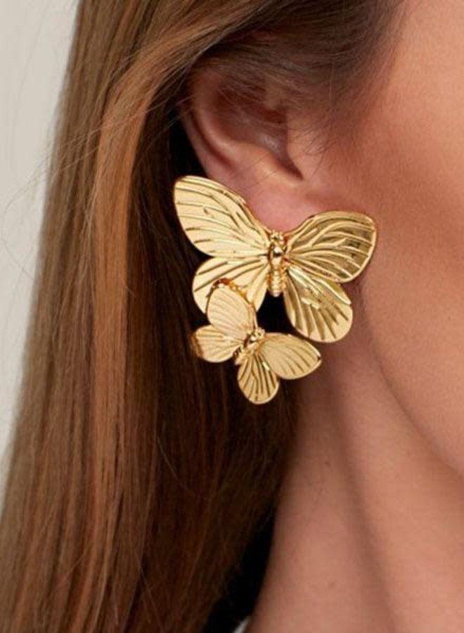Gold Stacked Butterfly Earrings