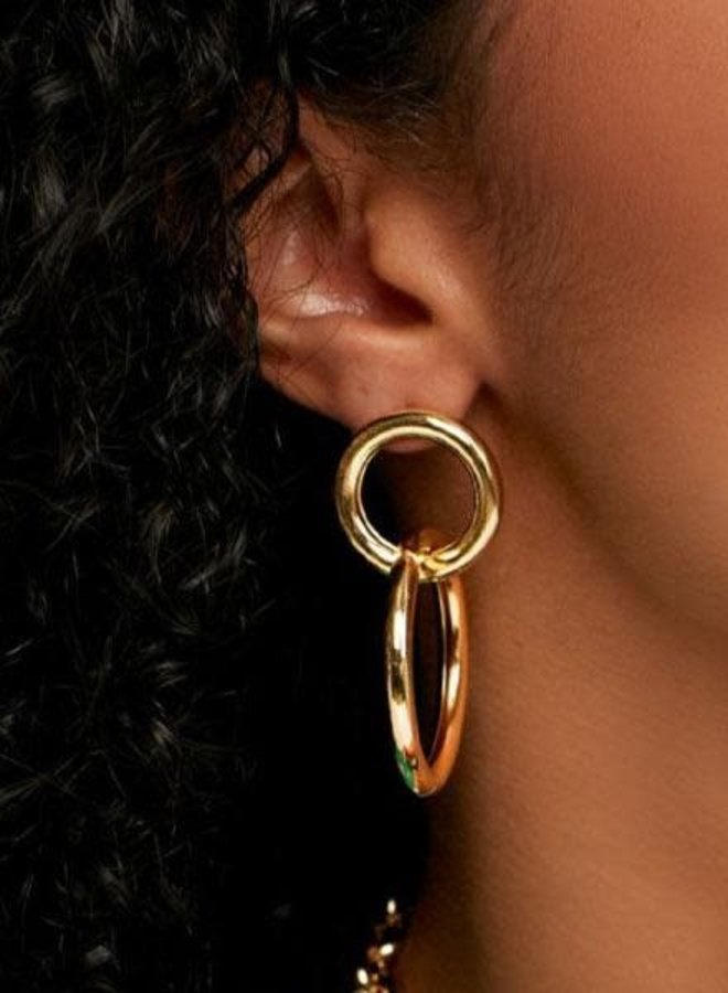 Classic Double Circle Earrings In Gold