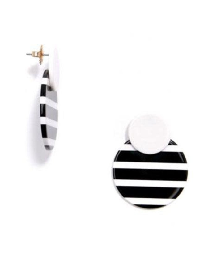 Striped Circle Drop Earrings In B&W