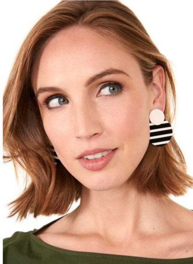 Striped Circle Drop Earrings In B&W