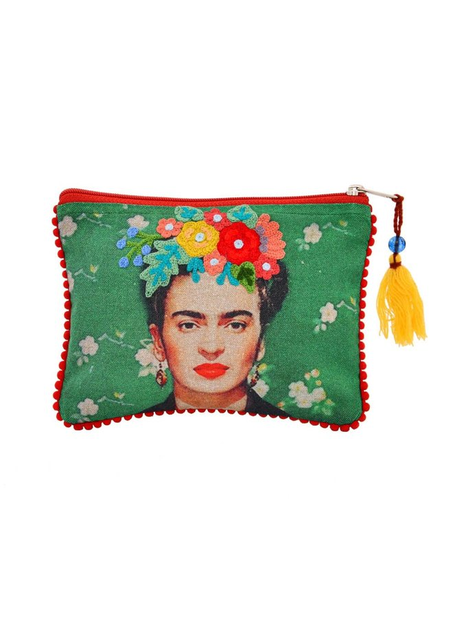 Karma Livings Embroidered Frida Pouch