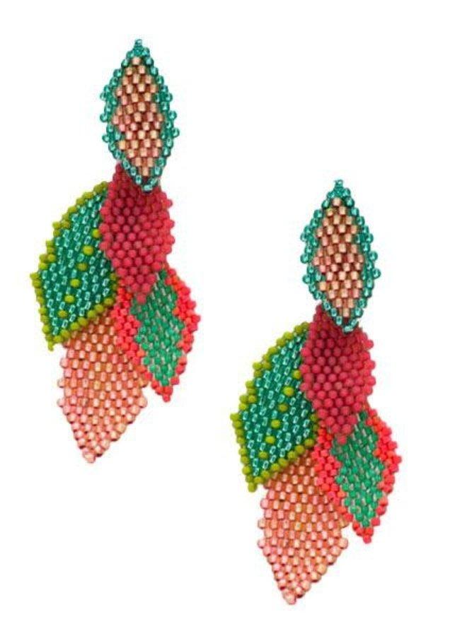 KVZ  Handbeaded Medium Leaf Earrings In Peach & Green