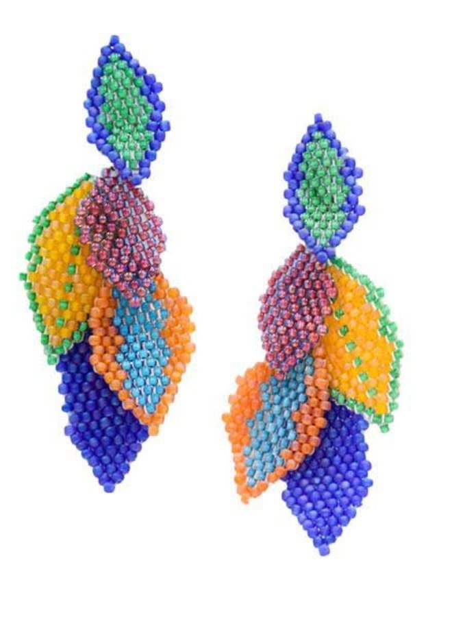 KVZ Handbeaded Medium Leaf Earrings In Confetti