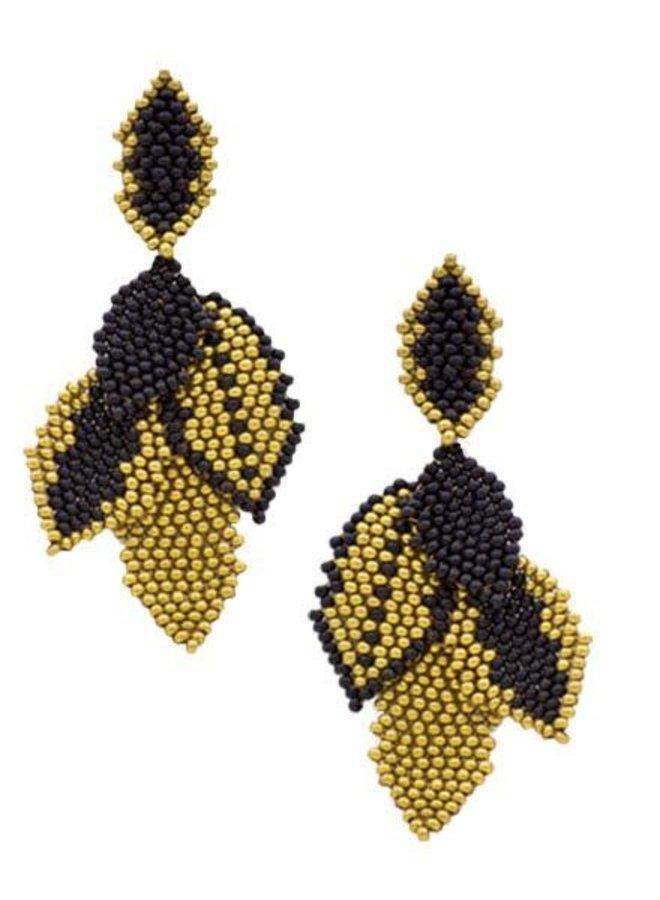 KVZ Medium Leaf Earrings In Black & Gold