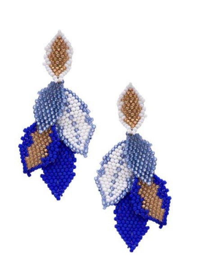 KVZ  Medium Leaf Earrings In Greek Holiday