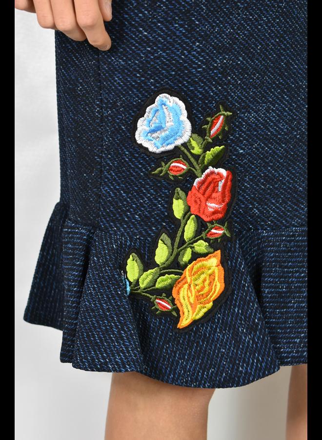 Petit Pois' Ruffled Bottom Skirt In Dark Denim