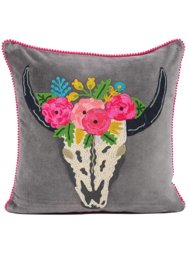 Karma Living's To Die For Skull Cushion