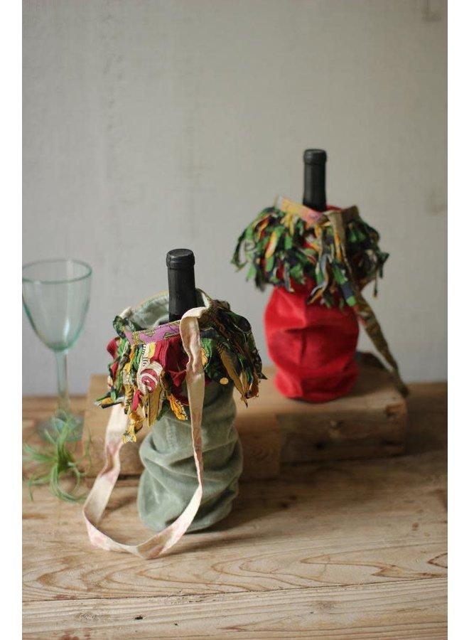Velvet Fringed Wine Bags