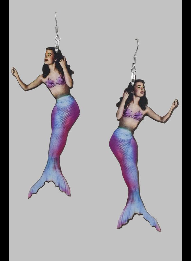 Blue Tailed Mermaid Earrings
