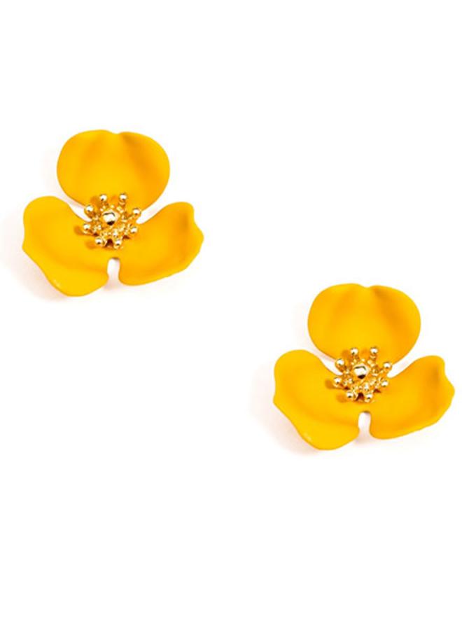 Blooming Lotus Stud Earrings In Honey
